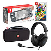 Nintendo Gray Switch Lite with Case, 212 Headset and Super Mario 3D World + Bowser's Fury