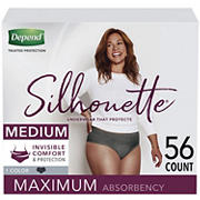 Depend Silhouette Incontinence Underwear for Women, M, Black, 56 ct.