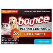 Bounce Pet Hair & Lint Guard Mega Dryer Sheets, Fresh Scent, 210 ct.