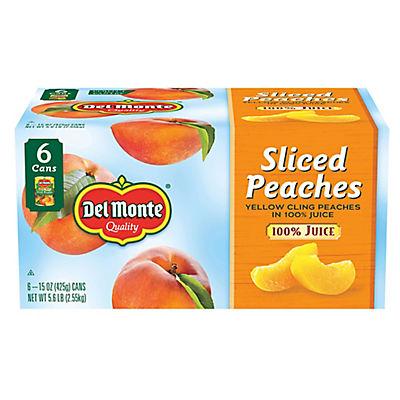Del Monte Sliced Peaches in 100% Juice, 6 pk./15 oz.
