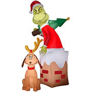 Gemmy Airblown Inflatable Grinch and Max Chimney Scene