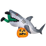 National Tree 4' Inflatable Animated Shark and Pumpkin