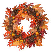 """National Tree 24"""" Maple Wreath with Clear Lights"""