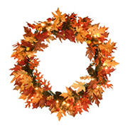 "National Tree 36"" Maple Wreath with Clear Lights"