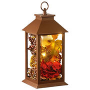 "National Tree 12"" Autumn Décor-Filled Lantern with LED Lights"