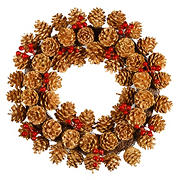 "National Tree 20"" Glittered Pinecone Wreath"