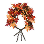 "National Tree 36"" Maple Leaf Mailbox Swag with Battery Operated LED Lights"