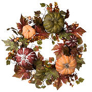 "National Tree 22"" Harvest Maple and Pumpkin Wreath"