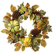 "National Tree 22"" Harvest Pumpkins and Pine Cones Wreath"