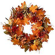 """National Tree 24"""" Harvest Maple Leaf Wreath"""