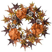 "National Tree 24"" Harvest Hydrangea and Maple Leaves Wreath"