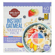 Wellsley Farms Fruit and Cream Variety Pack Instant Oatmeal, 40 ct.