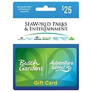 $25 SeaWorld Bush Gardens- Adventure Island Gift Card