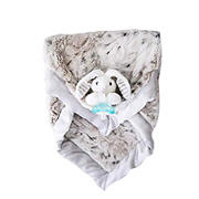 Zalamoon Luxie Pocket Blanket in Snow Leopard with Coco Bunny RaZbuddy and JollyPop pacifier