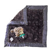 Zalamoon Luxie Pocket Blanket in Charcoal with Marlow Monkey RaZbuddy and JollyPop pacifier