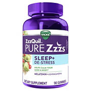 Vicks ZzzQuil PURE Zzzs Melatonin and Ashwagandha Dietary Supplement, 90 ct.