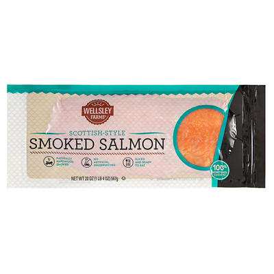 Wellsley Farms Smoked and Sliced Scottish Salmon, 1.25 lbs.