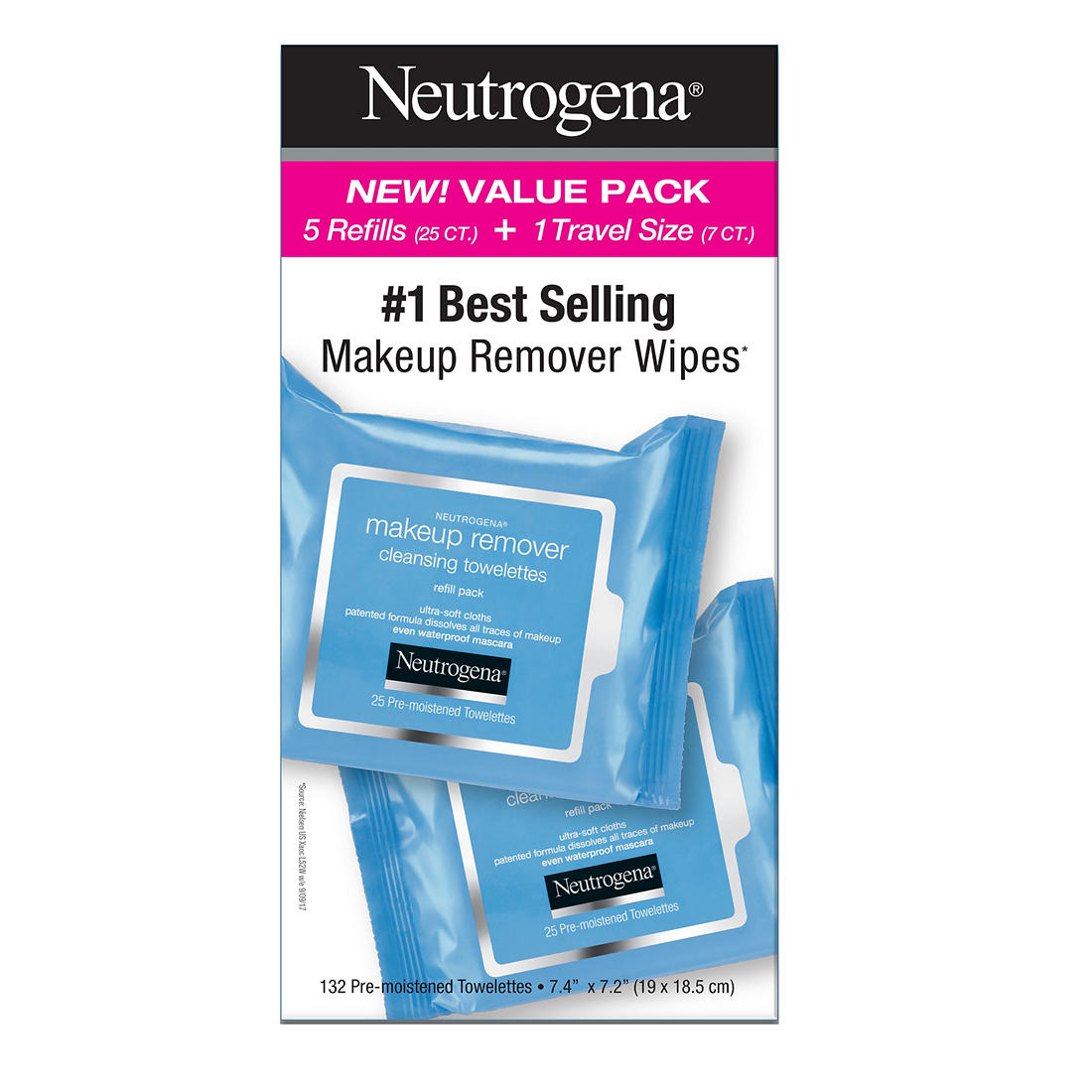 Neutrogena Cleansing Makeup Remover Facial Wipes Waterproof Mascara Remover Refill Pack, 125 ct. Hover to zoom