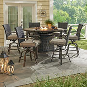 Berkley Jensen Portsmouth 7-Pc. Aluminum High Dining with Fire Pit Table and Swivel Chairs