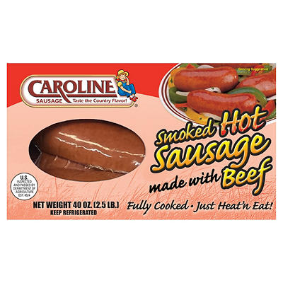 Caroline's Sausage Smoked Hot Beef Sausage, 40 oz.