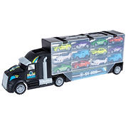 Toy Time Semi-Truck Car Carrier Set with Helipad