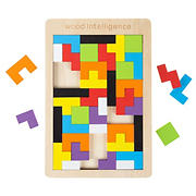 Toy Time 40-Pc. Rainbow Pentominoes Wooden Block Puzzle Set with Game Tray