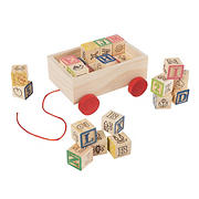 Toy Time 30-Pc. Wooden Block with Pull Cart Storage Box