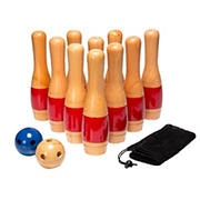 Toy Time Outdoor Wooden Lawn Bowling Game Set