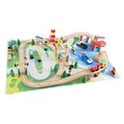 Toy Time Wooden Train Set with Playmat for Kids
