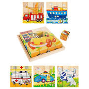 Toy Time 16-Pc. 6-in-1 Vehicle Block Puzzle Set