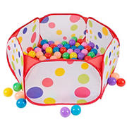 Toy Time Kids Pop-Up Six-Sided Ball Pit Tent with 200-Pc. Balls
