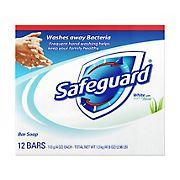 Safeguard Deodorant Bar Soap, White with Aloe 4 oz, 12 ct.