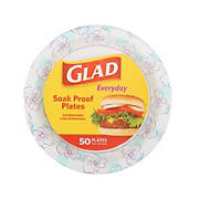 """Glad Round Microwaveable Heavy Duty Paper Plates 10"""", 50 ct."""