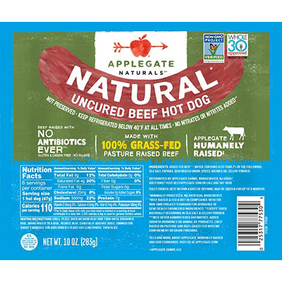 Applegate Naturals Uncured Beef Hot Dogs, 2 pk./12 oz.