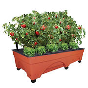 EMSCO Group Big City Picker Self Watering Raised Bed Grow Box with Casters