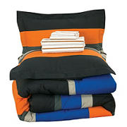 Brooklyn Flat Full Size Rugby Stripe Bed in a Bag with Reversible Comforter