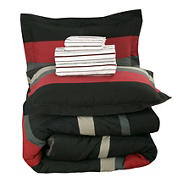Brooklyn Flat Queen Size Rugby Stripe Bed in a Bag with Reversible Comforter