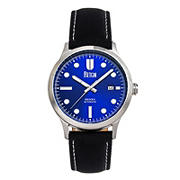 Reign Henry Automatic Canvas-Overlaid Leather-Band Watch with Date - Blue