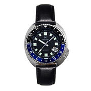 Heritor Automatic Pierce Genuine Leather-Band Watch with Date - Black/Blue