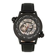 Reign Thanos Automatic Leather-Band Watch - Black/White