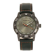 Morphic M71 Series Leather-Band Watch with Date - Gunmetal/Forest Green