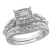 .20 ct. t.w. Diamond Cushion Shape Filigree Bridal Set in Sterling Silver, Size 9