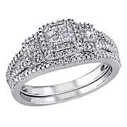 .25 ct. t.w. Diamond Princess Cut Quad Split Shank Bridal Set in Sterling Silver, Size 7