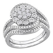 .25 ct. t.w. Diamond Floral Vintage Bridal Set in Sterling Silver, Size 9