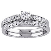 .50 ct. t.w. Diamond Channel Set Bridal Set in Sterling Silver, Size 6
