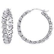 Moissanite Hoop Earrings in Sterling Silver