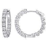 Moissanite Inside-Outside Hinged Hoop Earrings in Sterling Silver