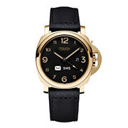 iTouch Connected Hybrid Smartwatch Fitness Tracker, 44mm - Gold Case with Black Leather Strap