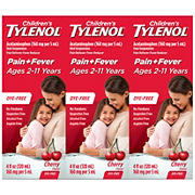 Children's Tylenol Pain Reliever Dye Free Oral Suspension Medicine - Cherry Flavor, 3 pk./4 fl. oz.