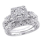 .2 ct. t.w. Diamond Halo Vintage Bridal Set in Sterling Silver